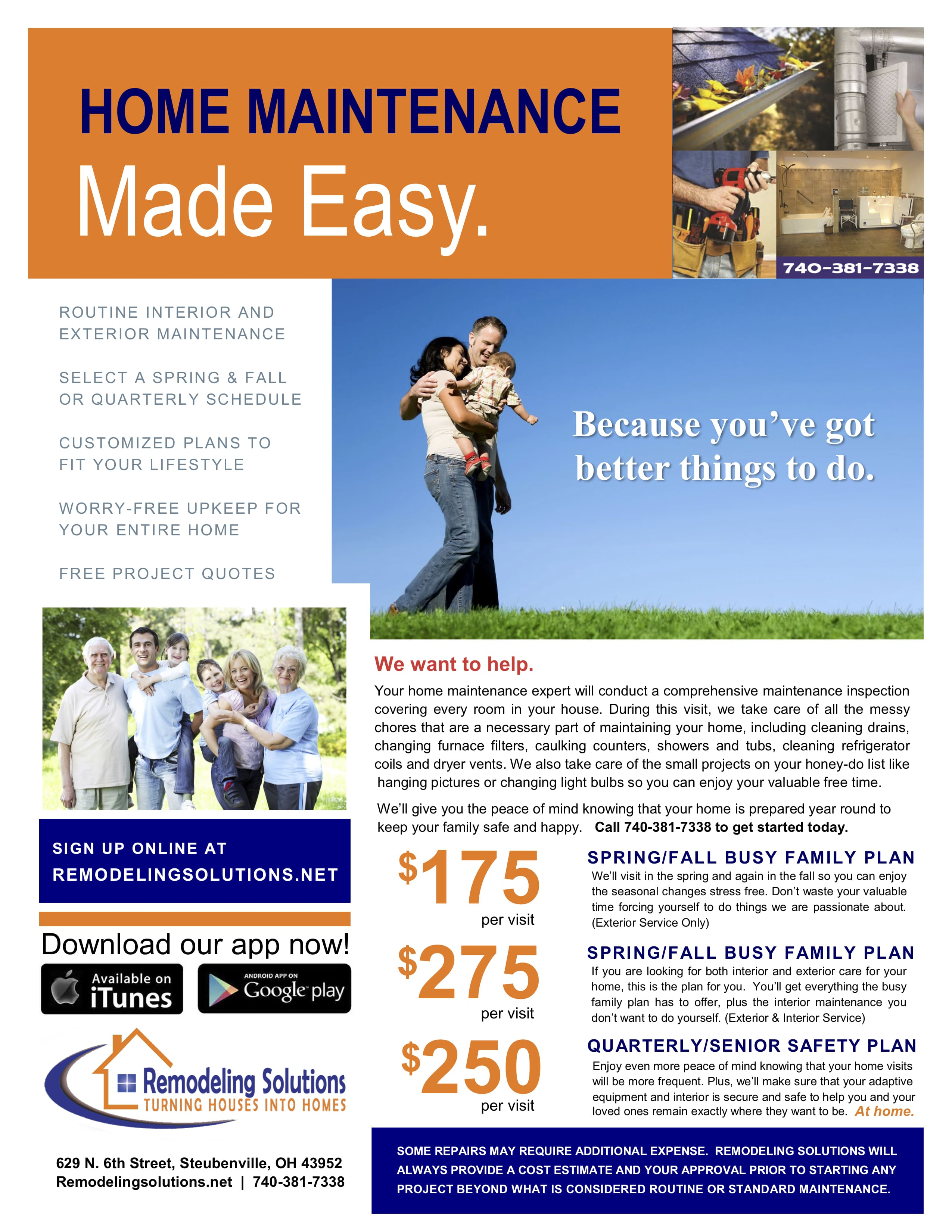 Home Maintenance, Busy Family Plan, Busy Family Plus Plan, Senior Safety, Seniors at Home